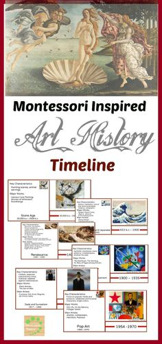 Montessori Inspired Art history timeline contains twenty-two 3 part cards with art periods from Stone Age to Postmodernism and Deconstructionism. Every card includes key characteristics of the period, major works, main artists and one piece of art that represents this art period.