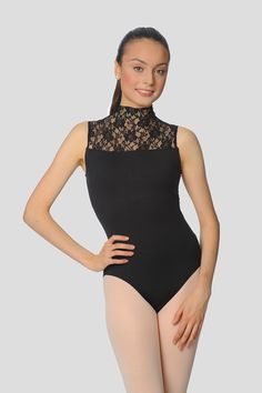 "Belle Epoch high neck sleeveless leotard for women by Gaynor Minden. The high-neck lace is inspired by the art and gaiety of ""La Belle Epoch"". It features soft, stretch lace with a shelf-bra and a back zipper. Ballet Leotards For Girls, Gymnastics Leotards, Kids Leotards, Hot Outfits, Dance Outfits, Ballet Outfits, Nylons, Gaynor Minden, Dance Shops"