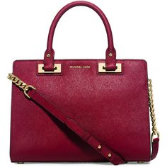 MICHAEL Michael Kors Quinn Medium Saffiano Satchel Bag ($328) ❤ liked on Polyvore featuring bags, handbags, cherry, satchel bag, satchel purse, red satchel, red satchel handbags and top zip satchel