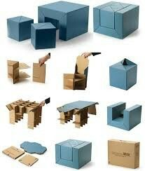 Ikea Sofa Bef Big Pillows Portable Folding Cardboard Chair, Stool, Corrugated ...