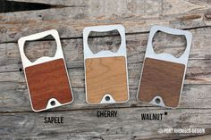 Keychain Bottle Opener Real Wood faced Stainless by portrhombus