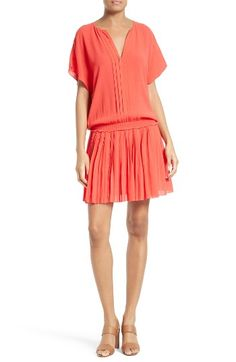 Free shipping and returns on Joie Bryton Pleated Blouson Dress at Nordstrom.com. Pre-order this style today! Add to Shopping Bag to view approximate ship date. You'll be charged only when your item ships.A fun little dress for any occasion fits effortlessly with a blousy short-sleeve bodice and pleated skirt gathered to a stretchy smocked waistband.
