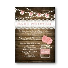 Rustic Baby Shower invitation girl pink shabby chic by PinkPopRoxx
