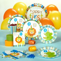 Sweet Safari Blue 1st Birthday Standard - Standard Pack for 8 includes: (8) invitations, dinner plates, dessert plates, cups, forks, spoons, (16) napkins, solid-color tablecover, foil balloon, (12) balloons (2 colors), curling ribbon (2 colors), crepe paper rolls (2 colors), and cake candles.