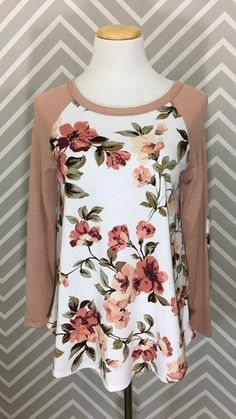 Floral Baseball T-Shirt with Elbow Patches