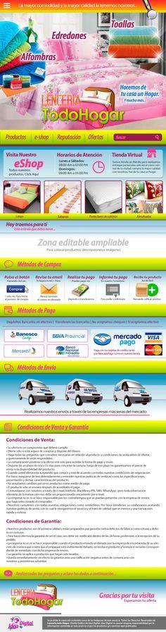 Cliente: Lencería Todo Hogar / Plantilla editable Mercadolibre / Propiedad Idea Digital / 2014 / #Mercadolibre #Design #diseño #diseñográfico #Graphicdesign #Ventas #creative #art #business #marketing #ideadigital