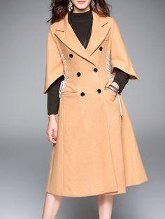 Khaki 3/4 Sleeve Plain Lace-up Double Breasted Simple Coat - StyleWe
