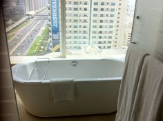 Radisson Royal hotel #Dubai bath with a view