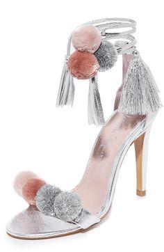 Shop Now - > https://api.shopstyle.com/action/apiVisitRetailer?id=628528923&pid=uid6996-25233114-59 Alameda Turquesa Anna Pom Pom Wrap Sandals ...