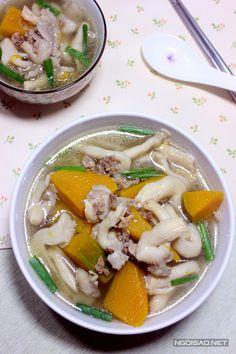 Cách làm món canh nấm bào ngư nấu bí đỏ thịt băm giải nhiệt ngày nóng - http://congthucmonngon.com/167386/cach-lam-mon-canh-nam-bao-ngu-nau-bi-do-thit-bam-giai-nhiet-ngay-nong.html
