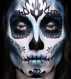 Day of the Dead Makeup--pinned to take note of the lips and how the lines follow the curvature of the lips, rather then just straight up and down.