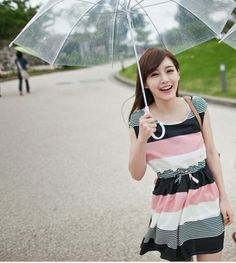 want want want!!!!  Adorable Mix-matched Colourful Stripe Waisted Dress Black & Pink $6.22