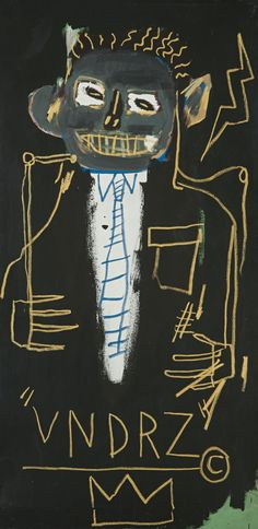 JEAN-MICHEL BASQUIAT VNDRZ signed and dated 82 on the reverse acrylic and oilstick on canvas 59 7/8 by 30 in. 152.1 by 76.2 cm.