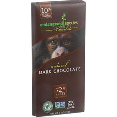 Endangered Species Natural Chocolate Bars - Dark Chocolate - 72 Percent Cocoa - 3 Oz Bars - Case Of 12