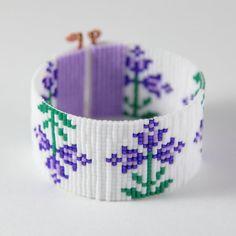 Items similar to Purple Spring Flowers Bead Loom Bracelet Bohemian Boho Artisanal Jewelry Indian Western Bead Native American Style Southwestern Rodeo on Etsy Bead Loom Bracelets, Beaded Bracelet Patterns, Bead Loom Patterns, Bracelet Crafts, Beading Patterns, Beaded Jewelry, Purple Spring Flowers, Tear, Bead Crochet