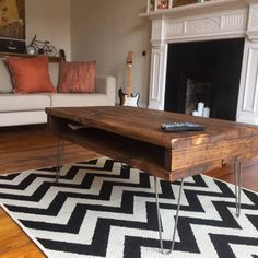 Reclaimed Pine Rustic Box Coffee Table / TV Stand Solid Wood Metal Hairpin Legs by Kowoodworksltd on Etsy https://www.etsy.com/uk/listing/474468359/reclaimed-pine-rustic-box-coffee-table