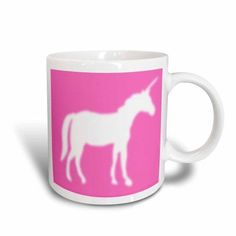 3dRose White Unicorn silhouette on hot pink - magical mystical mythical fantasy creatures and beasts, Ceramic Mug, 11-ounce