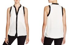 Chelsea and Walker Juston Faux Leather-Trimmed Silk Top - 100% Bloomingdale's Exclusive