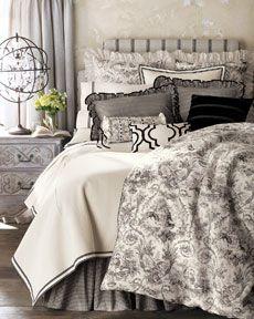 """""""Les Jardins"""" bed linens. A clean, crisp look."""