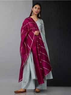 Greyish Blue Cotton Angrakha Suit with Maroon Chanderi Gota Dupatta - Set of 3 Pakistani Fashion Casual, Pakistani Dress Design, Pakistani Dresses, Indian Dresses, Indian Outfits, Indian Fashion, Indian Attire, Indian Ethnic Wear, Anarkali