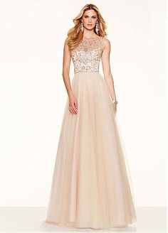 Fantastic Tulle Scoop Neckline A-line Prom Dresses With Beadings