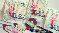 Nautical Watercolor Stamped Cards! {Tips for using watercolor crayons or...