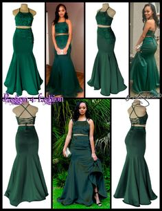 2 piece emerald green mermaid matric dance dress with a lace up back crop top. Top and mermaid skirt detailed in black. Prom Dresses Two Piece, Prom Dresses 2018, Mermaid Prom Dresses, Mermaid Skirt, Gatsby, Matric Dance Dresses, Formal Evening Dresses, Formal Gowns, Dress Making