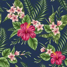 hawaiana: Tropical Modelo inconsútil floral con plumeria y flores de hibisco…