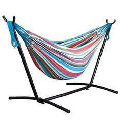 Driftsun Double Hammock with Steel Stand - Space Saving Two Person Lawn and Patio Portable Hammock with Travel Case (Rainbow) Portable Hammock, Outdoor Hammock, Outdoor Decor, Camping Hammock, Hammocks, Best Hammock With Stand, Hammock Stand, Gifts For New Parents, Best Gifts For Men