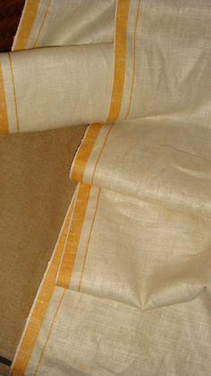 7.33 Yds Vintage Tea Kitchen Towel Linen Fabric Natural W Golden Yellow Stripes