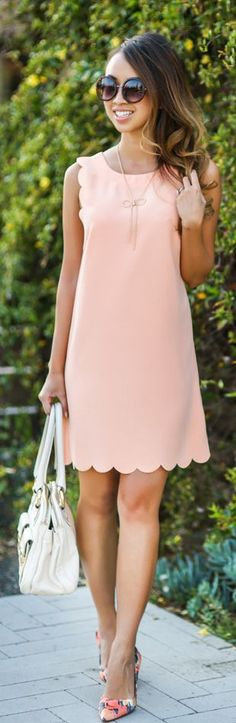 Scallop Shift Dress Outfit Idea
