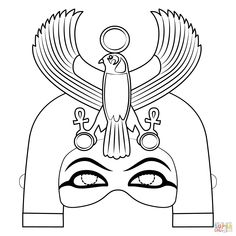 Egyptian mask with Horus falcon coloring page Ancient Egypt Animals, Ancient Egypt Crafts, Ancient Egypt For Kids, Egyptian Crafts, Egyptian Jewelry, Ancient Aliens, Ancient Greece, Egyptian Mask, Egyptian Party