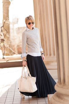 Layered sweater with maxi skirt for fall.