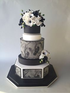 Black, White & Gray Cake