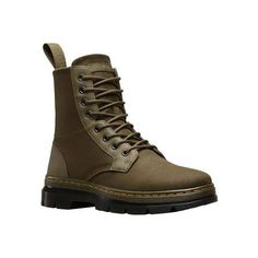 Dr. Martens Combs 8-Eye Boot - Grenade Green 12oz Waxy Canvas/Kanga S... ($90) ❤ liked on Polyvore featuring shoes, boots, lightweight army boots, green boots, dr martens boots, foldable boots and lightweight military boots