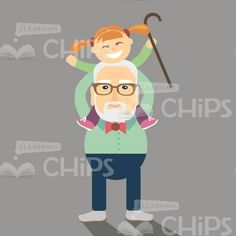 Vector Aged Man With A Little Girl On His Shoulders #illustration #vector #character #grandfather #granddaughter