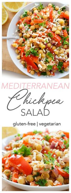 This healthy Mediterranean Chickpea salad is one of my top vegetarian recipe picks! Its simple to prepare packed full of protein and fibre and bursting with flavour! Clean Eating Vegetarian, Vegetarian Recipes Easy, Healthy Salad Recipes, Healthy Eating, Quick Healthy Lunch, Healthy Food, Mediterranean Chickpea Salad, Mediterranean Diet Recipes, Italian Recipes