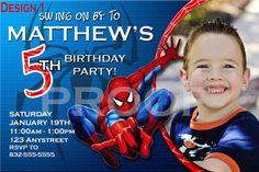 Spiderman Photo Invitations from Bailey Bunch Invites