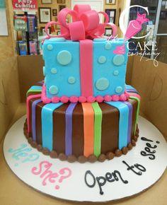 Gender reveal tiered cake