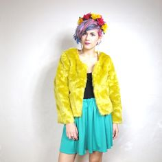 Love furry jackets! 90s Club Kid Yellow Faux Fur Cropped Jacket S by honeymoonmuse, $50.00