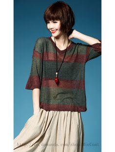 Sweaters & Vests – Women Stripe V-Neck Linen Knit – a unique product by MicCoat on DaWanda