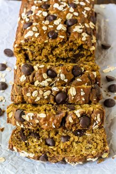 Perfect Pumpkin Chocolate Chip Bread. Incredibly moist and filled with fall spices. Made with whole wheat flour and coconut oil this healthy pumpkin bread recipe is good for you too!