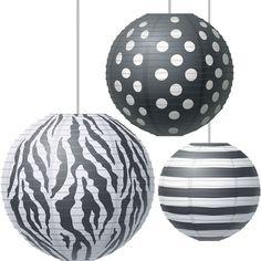 Big Bold Black And White Paper Lanterns