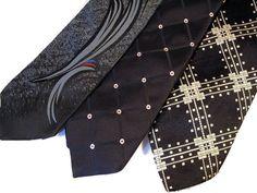 Lot of 3 Black Ties Geometric Designs in Ties   eBay