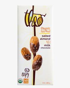 Theo Chocolate: Salted Almond: sugar, cocoa beans, cocoa butter, milk powder, almonds, salt, vanilla
