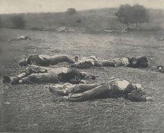 Union soldiers lying dead on the battlefield.