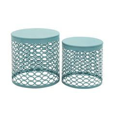 This elegant teal metal side tables adds instant style to your home décor. Crafted of high-quality iron, this beautiful piece is sure to be a favorite in your home for years to come.
