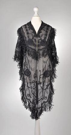 Shawl, 1920's, black silk, cotton tulle embroidery, black glass beads, silk fringes,  Dorotheum Vintage, http://www.dorotheum.com/