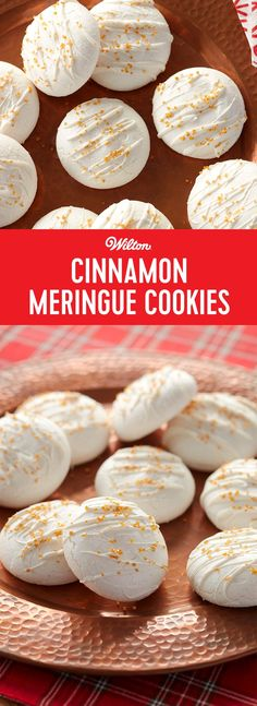 Cinnamon Meringue Cookies - Looking to add a bit of sparkle to your dessert table? These tasty cookies are made of light and dreamy meringue with a touch of cinnamon, sprinkled with Wilton Gold Pearlized Sugar Sprinkles. These treats are sure to add a little bling to any holiday office party or New Year's Eve bash. It's an easy recipe you'll want to keep on hand for any time you want to add a little shine to your celebration! #newyearseve #christmascookies #meringues #wiltoncakes