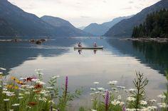 Mom and Dad canoeing on Lake Chelan, Stehekin
